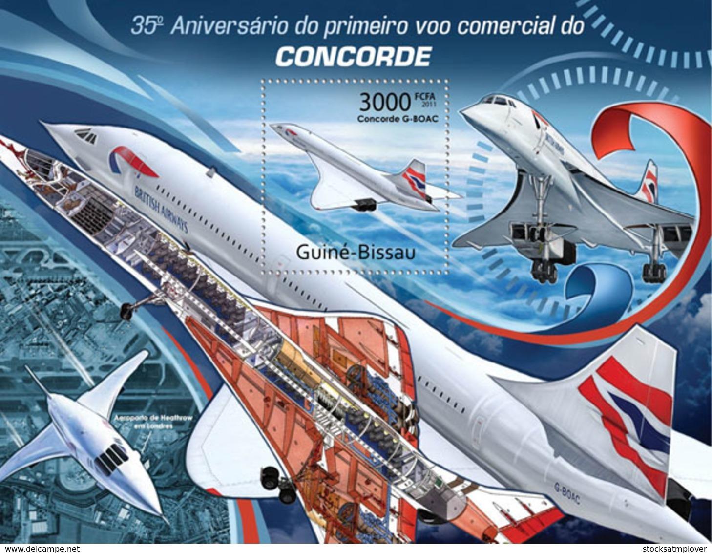 Guinea Bissau  2011   35 Years Of Concorde , Airplane - Guinea-Bissau