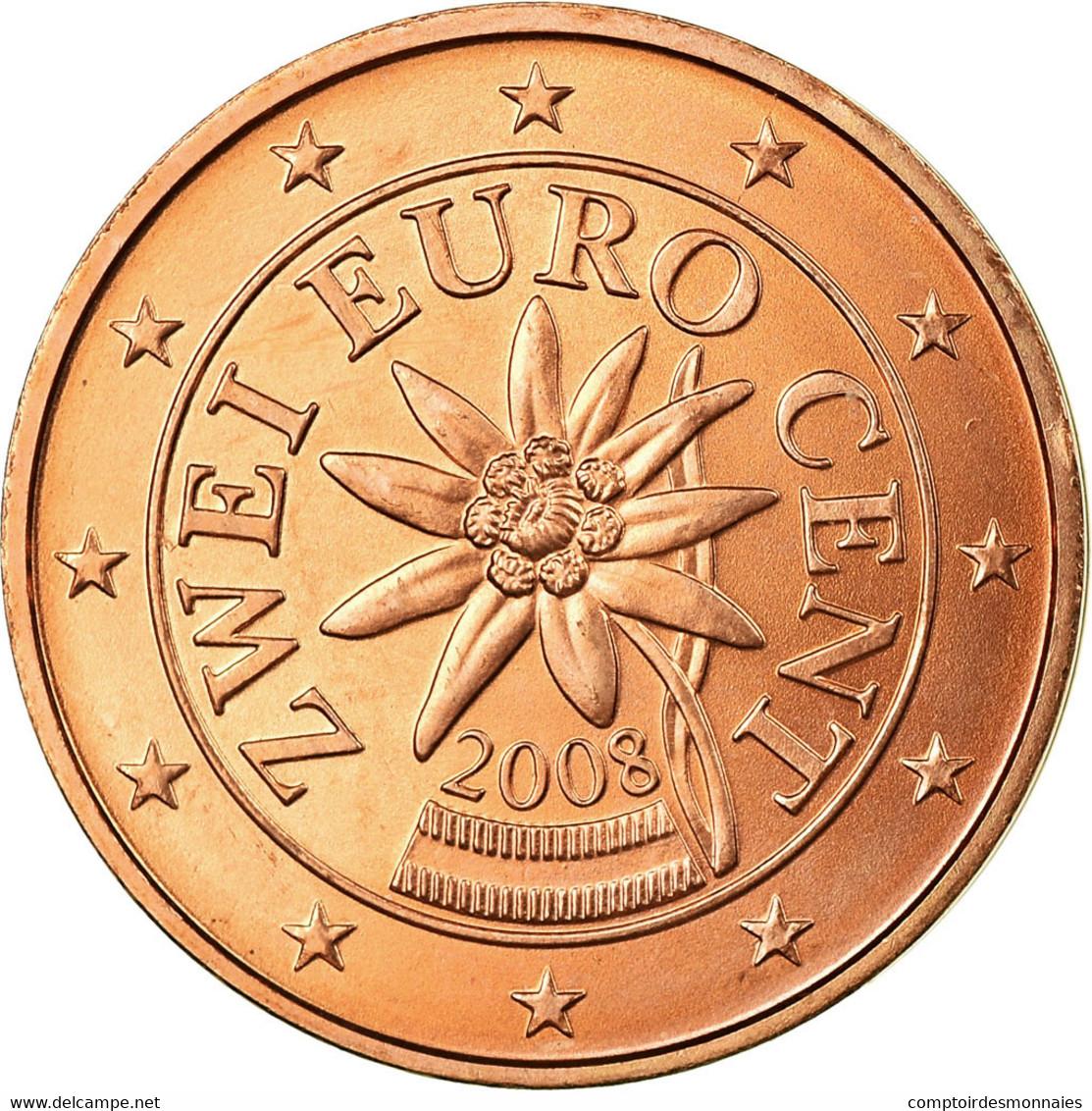 Autriche, 2 Euro Cent, 2008, SPL, Copper Plated Steel, KM:3083 - Autriche
