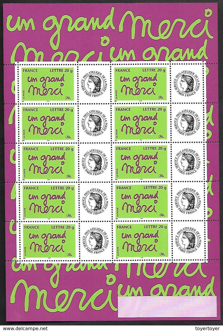 P207  Feuillet De 10 Timbres N°F3761A N++person. Cérès Gome Brillante - Gepersonaliseerde Postzegels