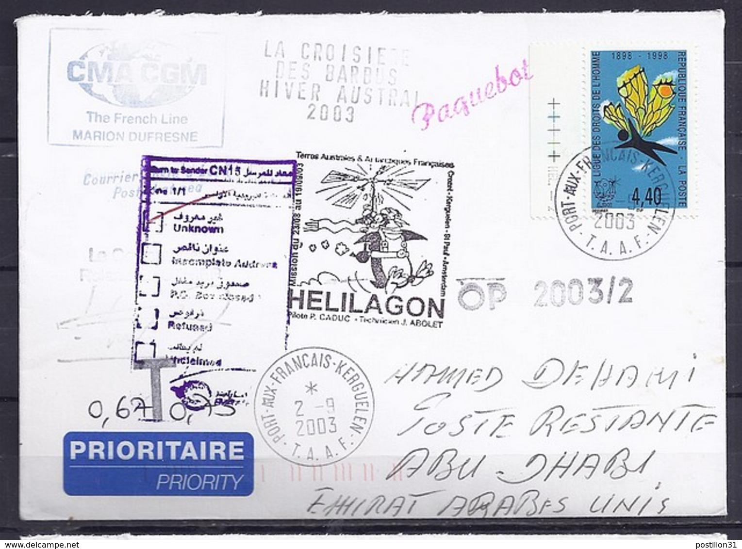 TP N°3149  SUR LETTRE DES TAAF/2003/POSTEE A BORD DU MARION DUFRESNE POUR LES EMIRATS ARABES UNIS - Marcophilie (Lettres)
