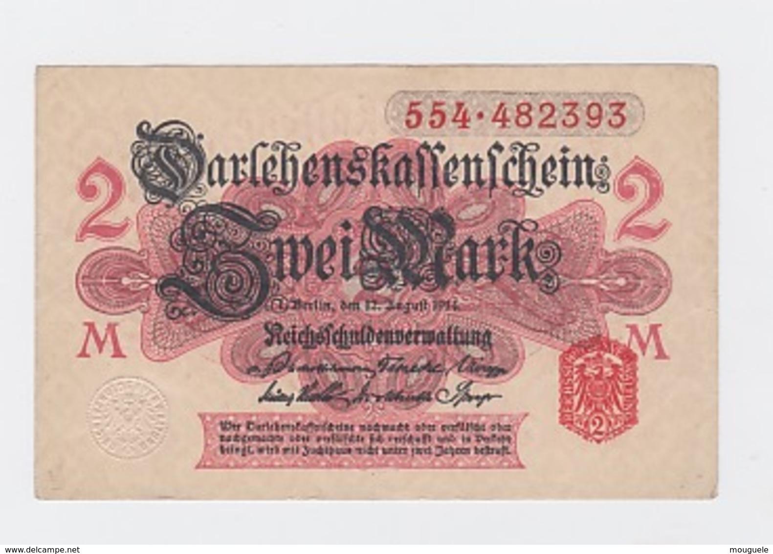 Billet De 1 Mark  Du 12-8-1914  Pick 53 Neuf Papier Blanc - Altri