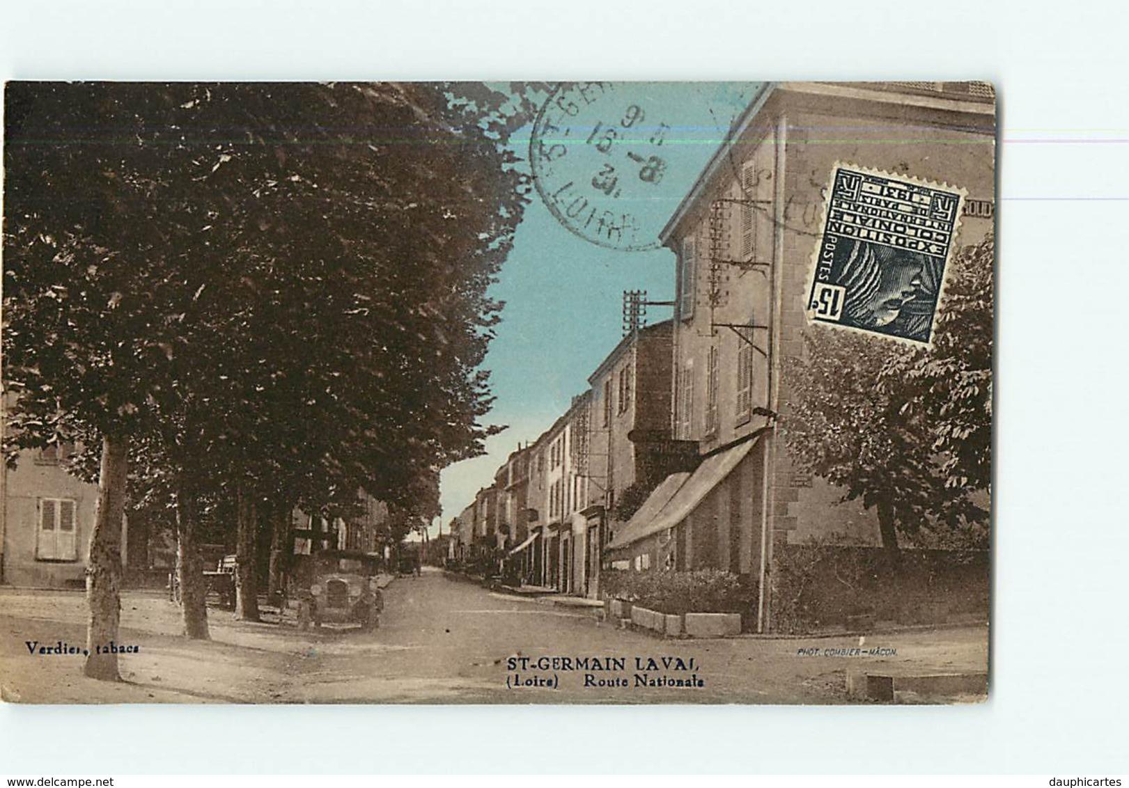SAINT GERMAIN LAVAL - Route Nationale Animée Et Colorisée Hôtel Des Voyageurs Giroud - Ed. Verdier Tabacs - 2 Scans - Saint Germain Laval
