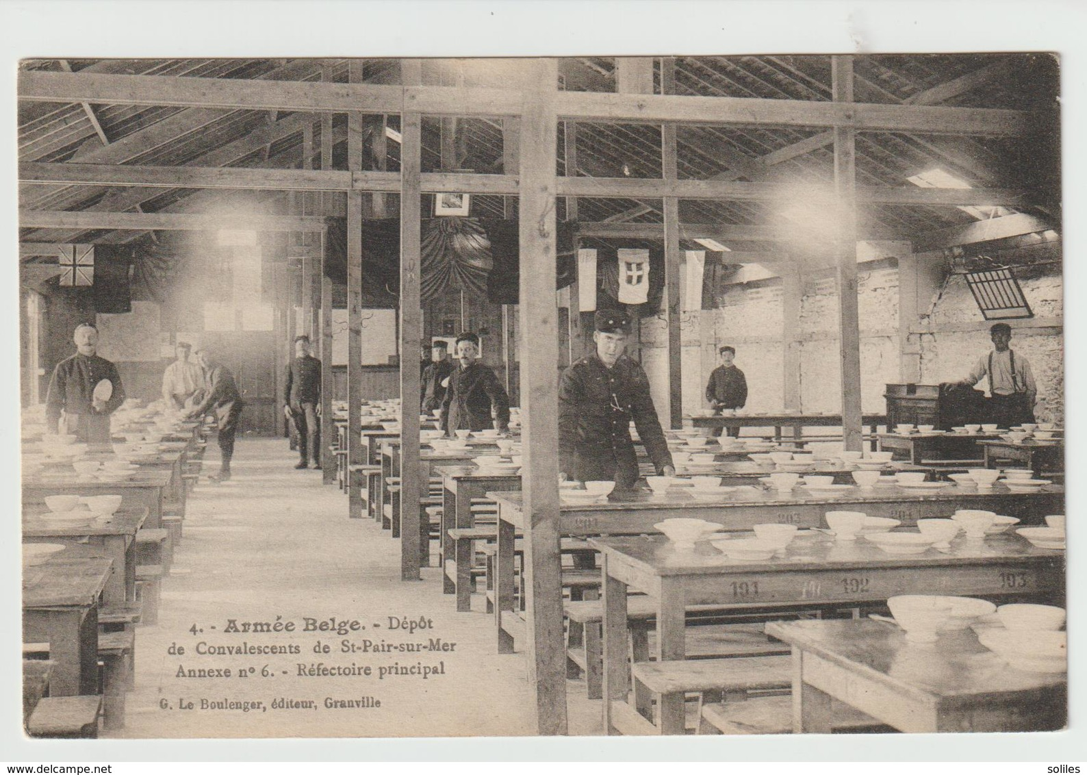 ARMÉE BELGE - Dépôt De Convalescents De St- Pair+ Sur - Mer, Réfectoire Principal - Guerre 1914-18