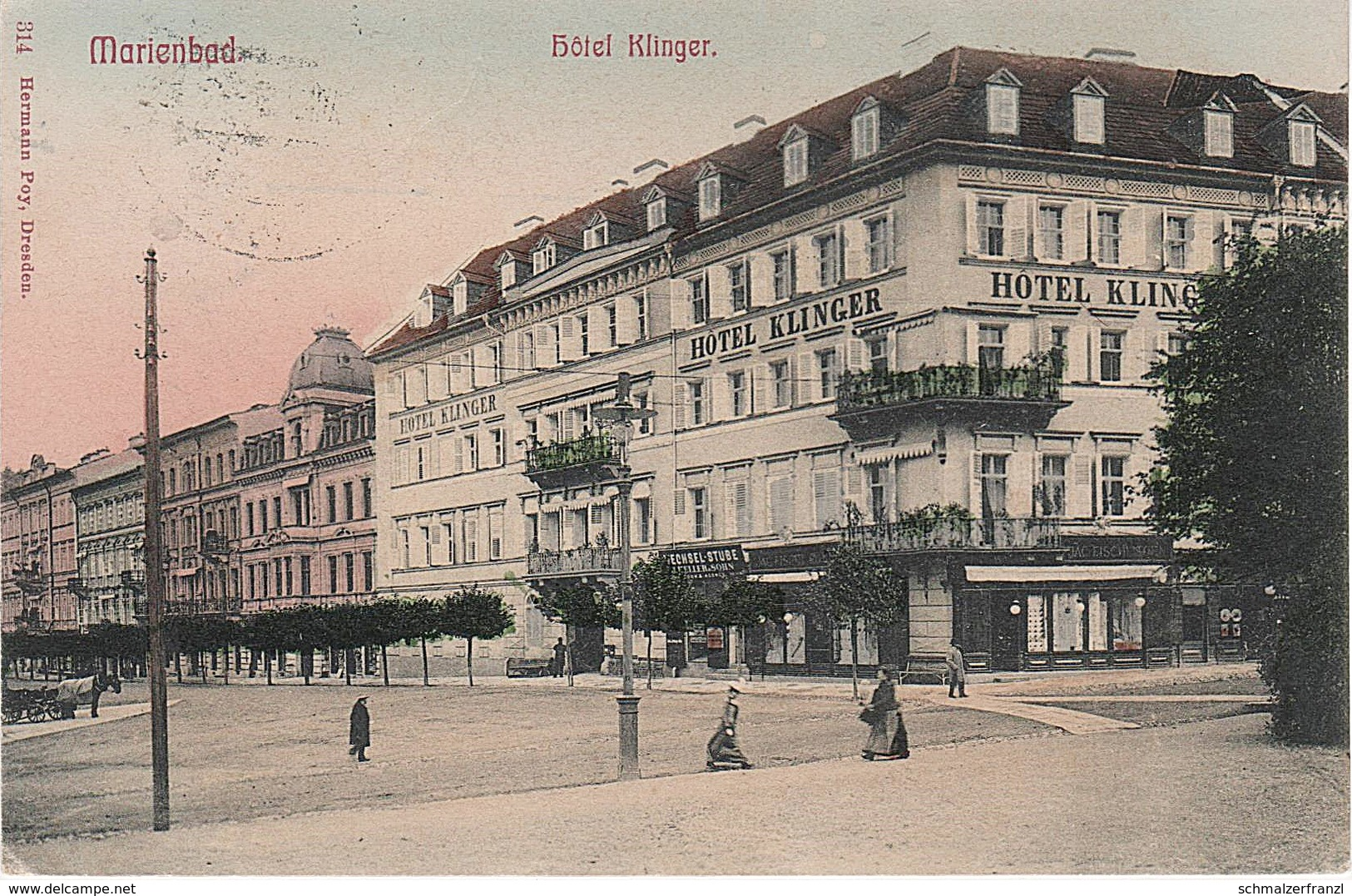 AK Marianske Lazne Marienbad Hotel Klinger Marienstraße Glatzen Kladska Stanowitz Stanoviste Auschowitz Usovice Kuttnau - Sudeten