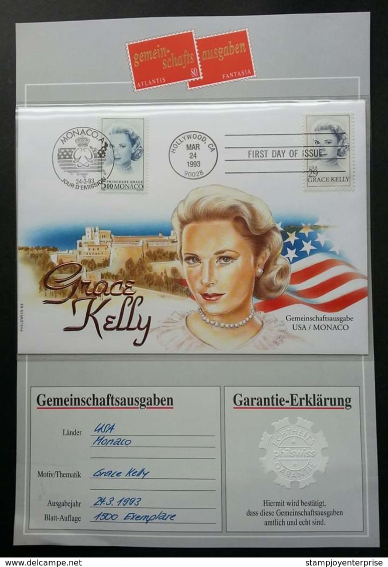 USA United States Monaco Joint Issue Princess Grace Kelly 1988 (joint FDC) *dual PMK  *guarantee Card *see Scan - United States