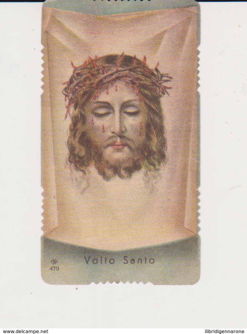 ANTICO SANTINO FUSTELLATO VOLTO SANTO EDITORE GN 479 IMPRIMATUR 1898 - Images Religieuses
