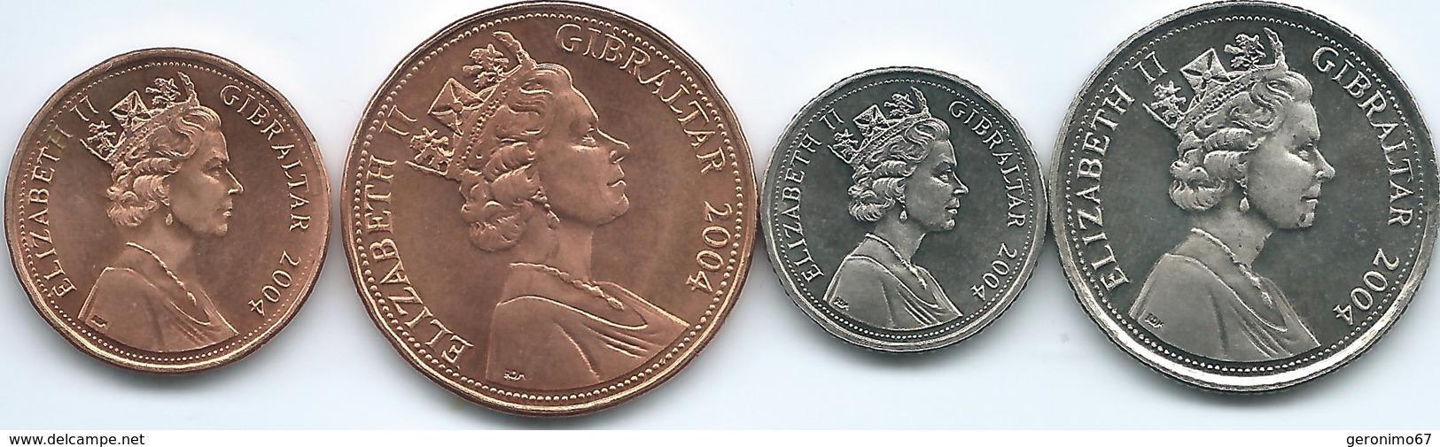 Gibraltar - Elizabeth II - 2004 - 1, 2, 5 & 10 Pence - 300th Anniversary Of Briish Colony - Gibraltar