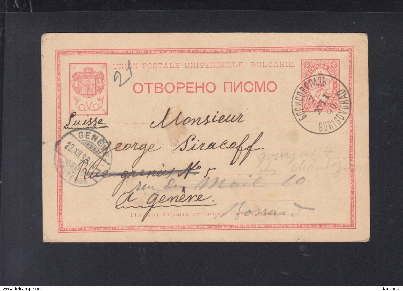 Bulgaria Stationery 1899 Borisovgrad To Switzerland - 1879-08 Fürstentum
