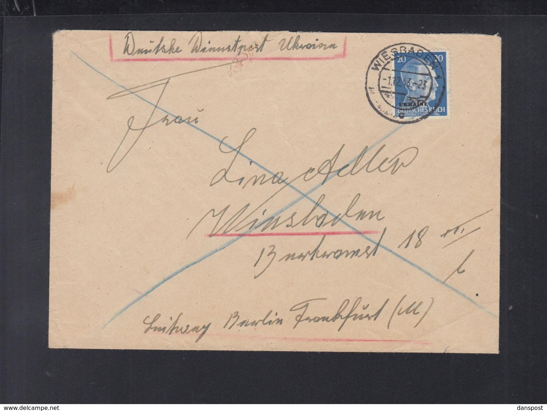 Dt. Reich Dienstpost Ukraine Brief 1943 Nach Wiesbaden - Dienstpost