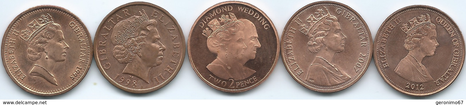 Gibraltar - 2 Pence - 1995 (KM21a) 1998 (KM774) 2007 - Diamond Wedding (KM1080) Operation Torch (KM1065) 2012 (KM1942) - Gibraltar