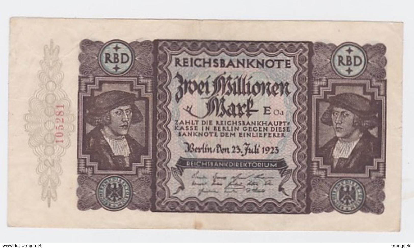 Billet De 2 Million De Mark Du 23-7-23     Pick 89 - [ 2] 1871-1918 : Impero Tedesco