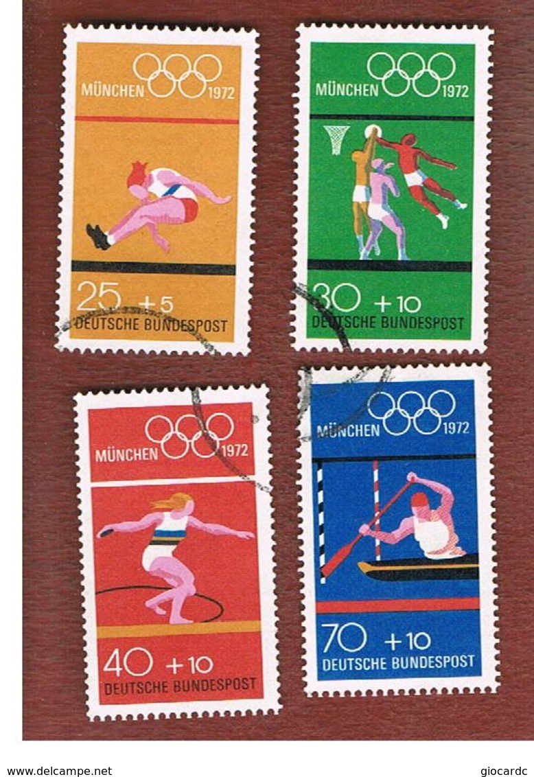 GERMANIA (GERMANY) - SG 1629  - 1972  OLYMPIC GAMES (COMPLET SET OF 4)  - USED - Usati