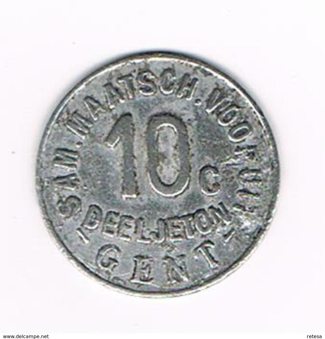 //  DEELTJETON  10 C. GENT SAM MAATSCH.  VOORUIT  1880 - Noodgeld