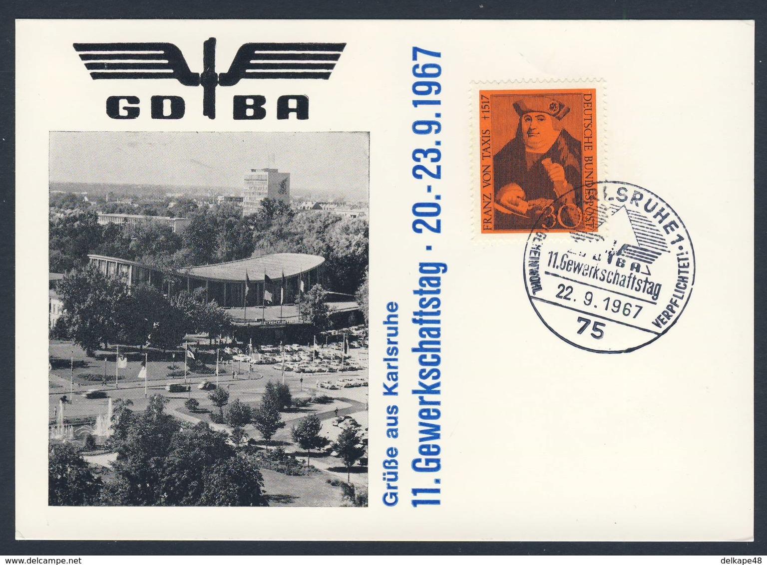 Deutschland Germany 1967 Card / Karte Photo - GDBA - 11. Gewerkschaftstag - 20-23.9.1967, Karlsruhe / 11th Union Day - Treinen