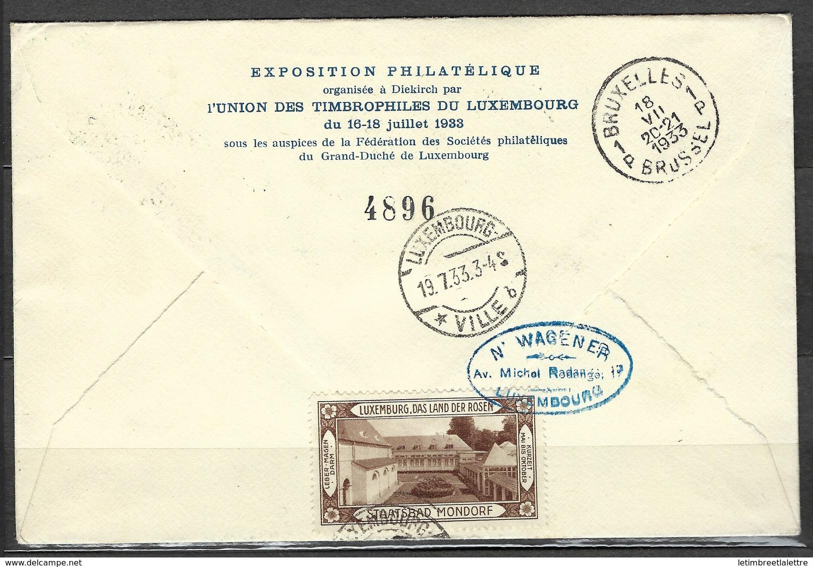 Troisième Courrier Aéropostal Diekirch - Bruxelles Le 16 Juillet 1933, Avec Vignette Au Verso TB - Covers & Documents