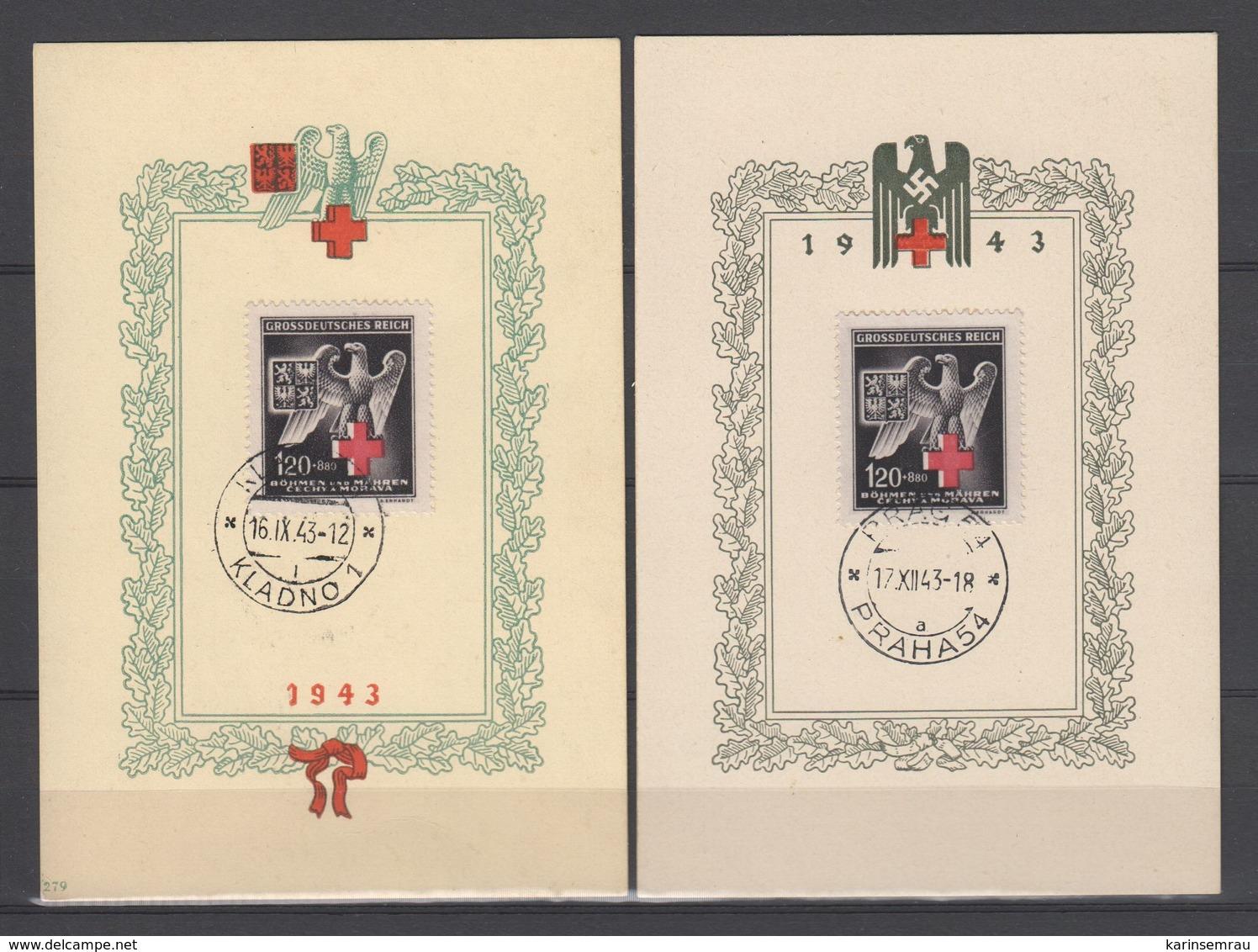 Drittes Reich , Böhmen Und Mähren 1943 , 2 Sonderstempelkärtchen , Prag Und Kladno - Briefe U. Dokumente