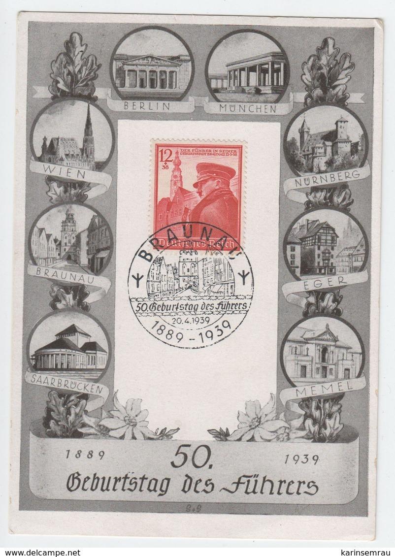 Karte Zum 50. Geburtstag 1939 , Sonderstempel Braunau - Germany