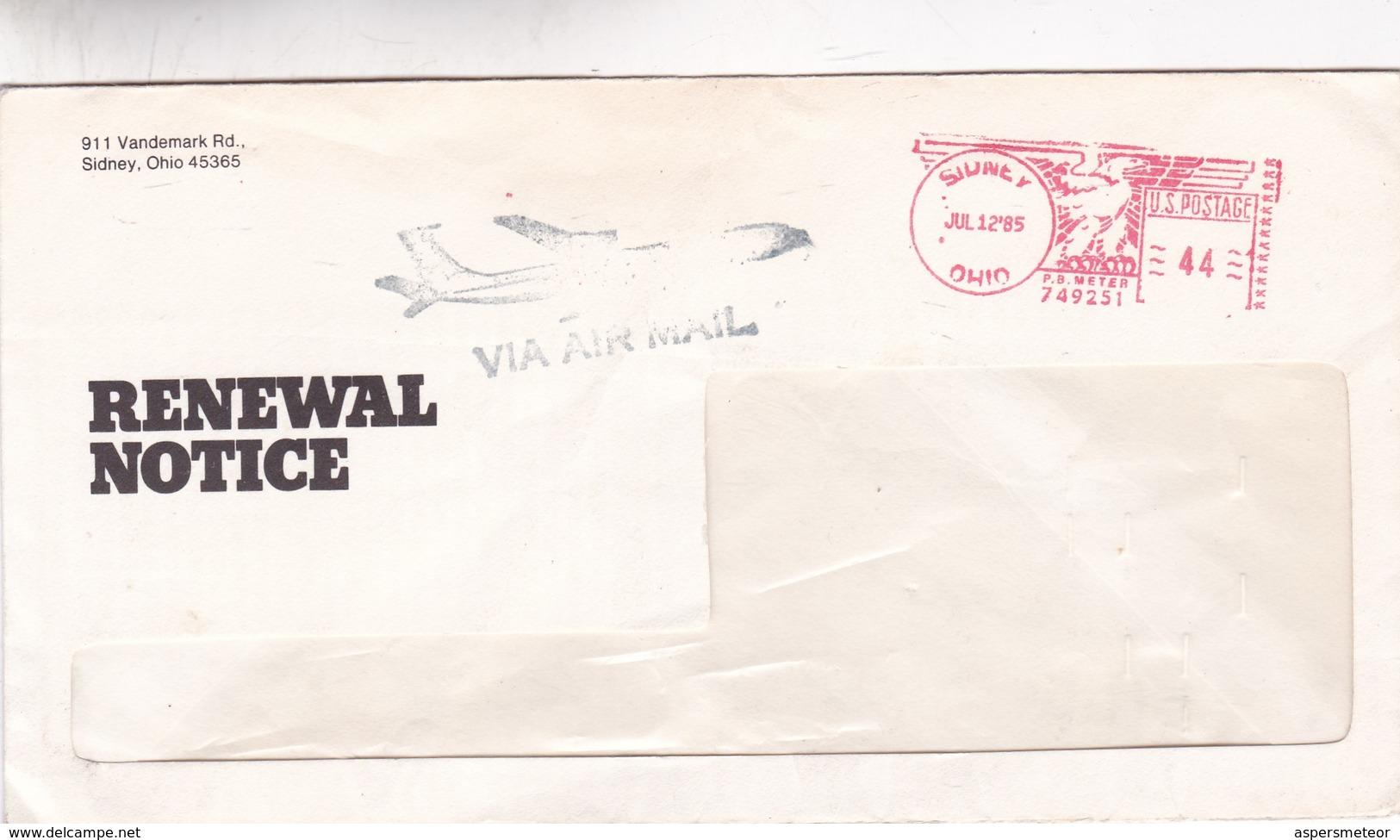 COMMERCIAL ENVELOPE; RENEWAL NOTICE, YEAR 1985 CIRCULEE USA FRANKING MACHINE - BLEUP - United States