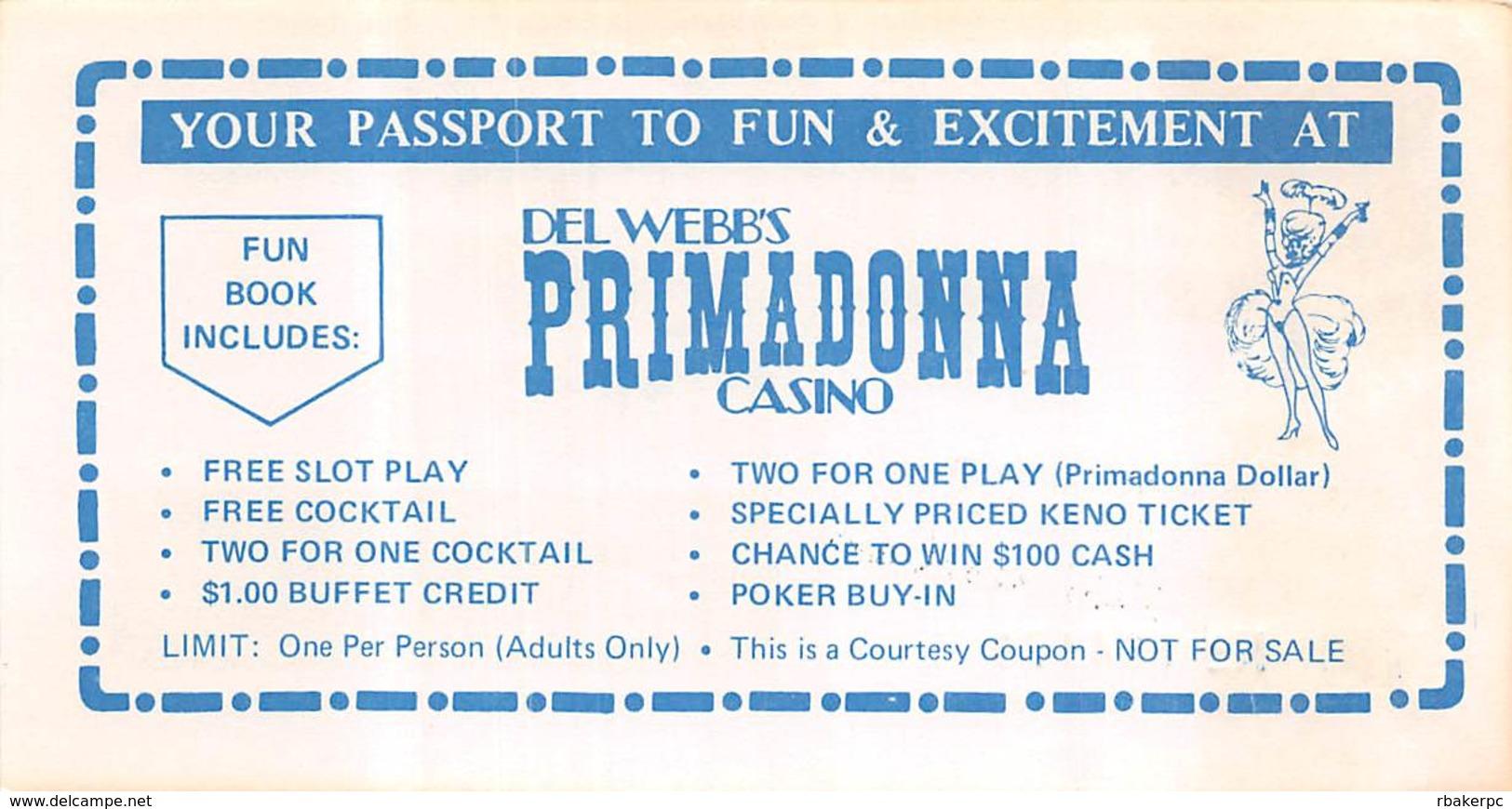 Primadonna Casino - Reno NV - Coupon For Free Fun Book - Advertising