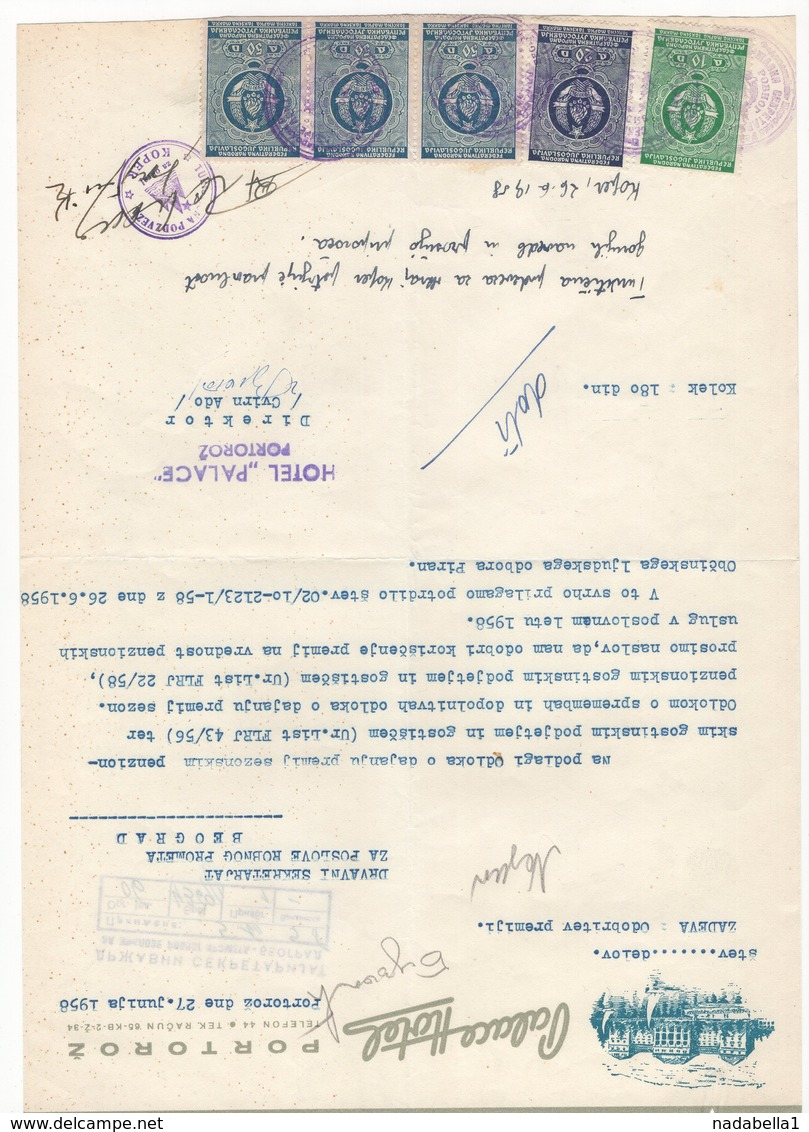 1958 YUGOSLAVIA, SLOVENIA, PORTOROZ, PALACE HOTEL, LETTERHEAD, 5 FISKAL STAMPS - Other