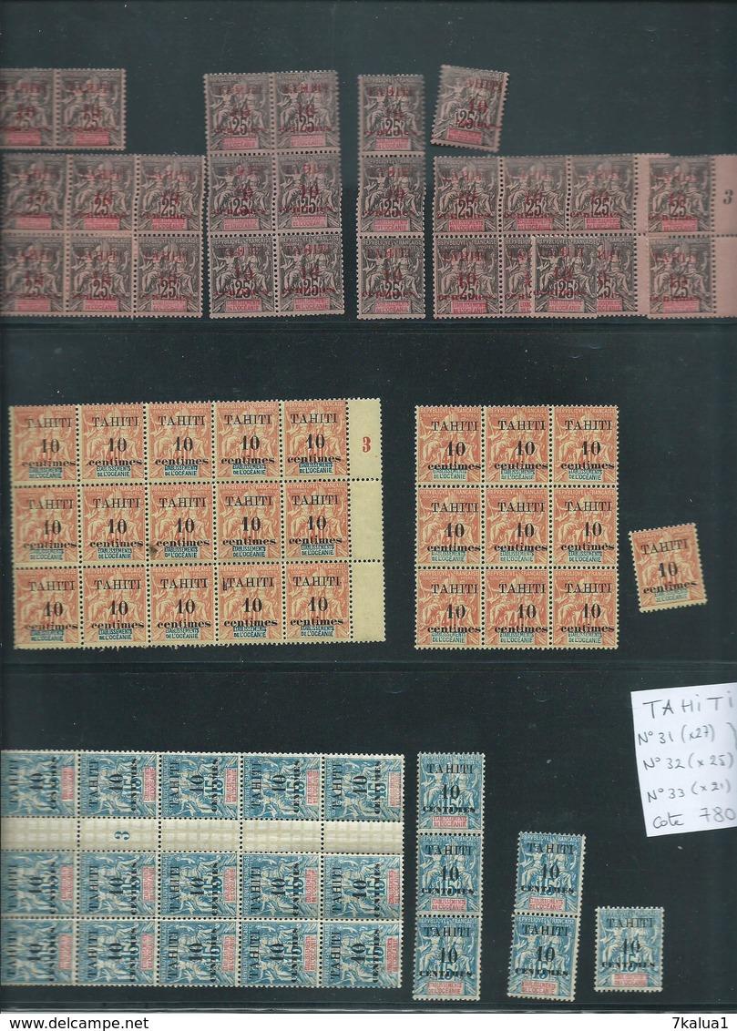 TAHITI. Colonie Française. N° 31,32,33 Neufs** Par Multiples. Cote 780 €. - Collections (sans Albums)