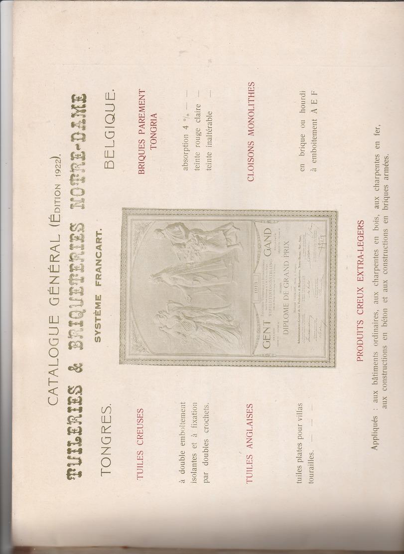 Catalogue  1922 ,Tuilerie Briqueterie Notre-Dame Tongres Tongeren ,Système Francart (progrès Réalisé Dans L'art De Batir - Ambachten