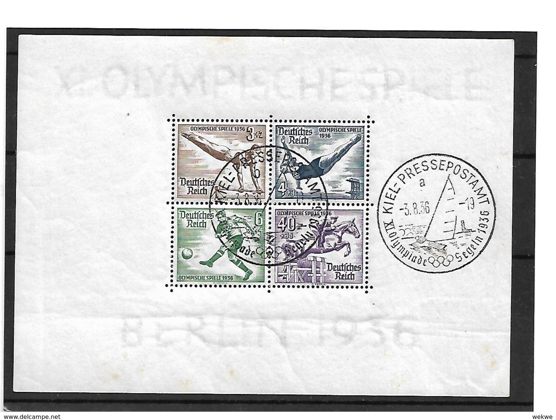 DSP130 / Drittes Reich - Olympiade 1936, Block Mit Stempel Pressepostamt Kiel, Segelregatta - Deutschland