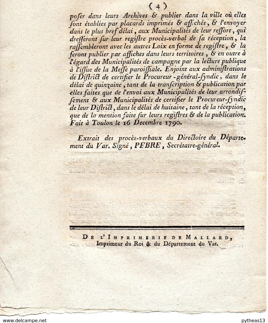 Loi Relative Au Service De La Poste Aux Lettres Le 24 Novembre 1790 - Decreti & Leggi