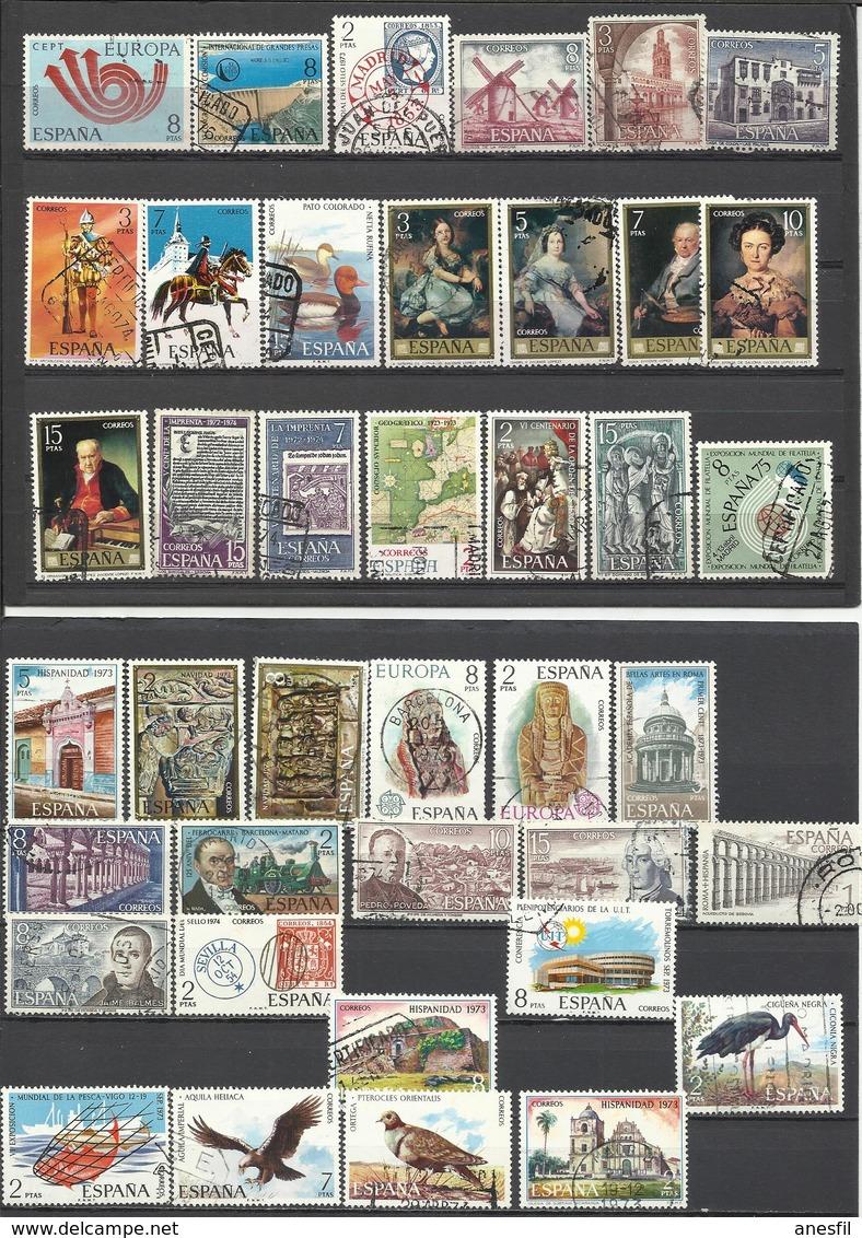 España. Lote De Sellos Usados Diferentes De Los Años 70 - Mezclas (max 999 Sellos)