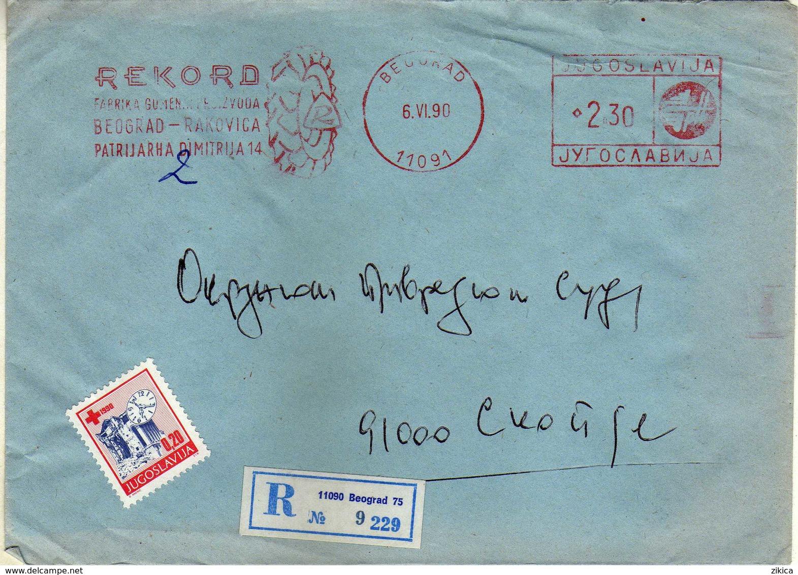 "Yugoslavia EMA Machine Stamp ,,Rekord Belgrade "" 1990 - Motive - Tires Tyres Pneumatic Gomme, Car Automobile,tractors - 1945-1992 Repubblica Socialista Federale Di Jugoslavia"