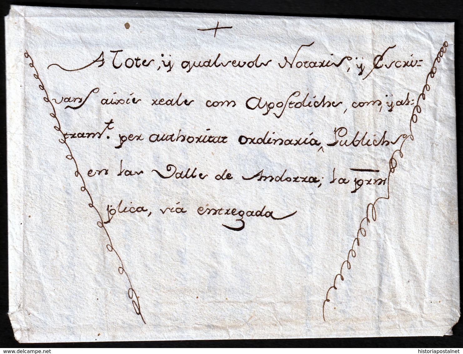 1781. SEO DE URGEL TO THE NOTARIES AND WRITERS VALLEY OF ANDORRA. BEAUTIFUL ORNAMENT. SPECTACULAR SEAL. RARE. - Cartas