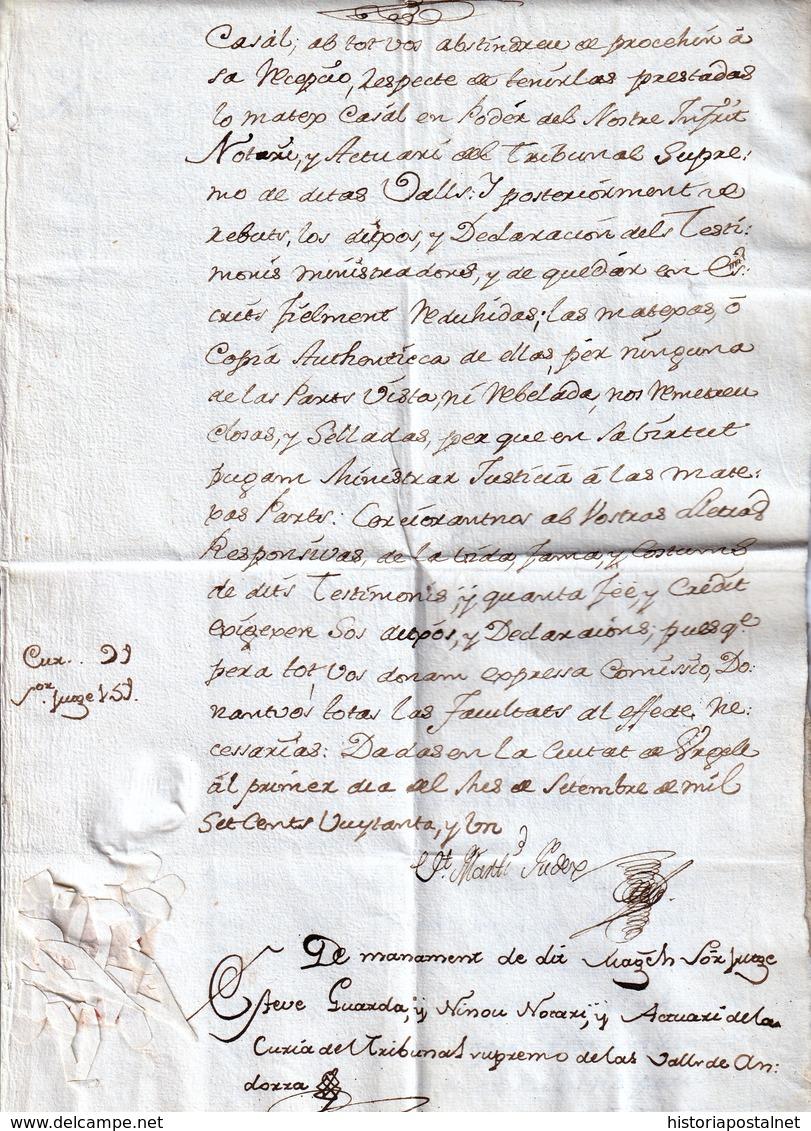 1781. SEO DE URGEL TO THE NOTARIES AND WRITERS VALLEY OF ANDORRA. BEAUTIFUL ORNAMENT. SPECTACULAR SEAL. RARE. - Andorra Española