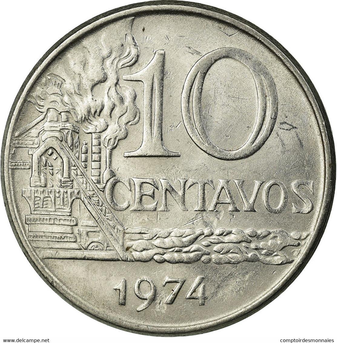 Monnaie, Brésil, 10 Centavos, 1974, TTB, Stainless Steel, KM:578.1a - Brésil