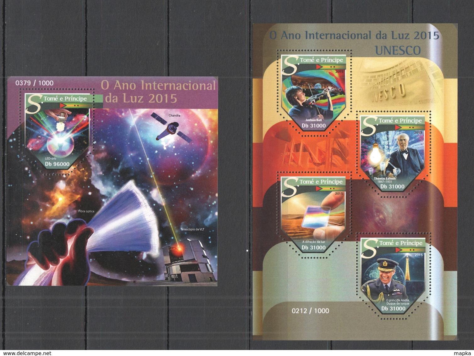 ST1489 2015 S. TOME E PRINCIPE THE INTERNATIONAL YEAR OF LIGHT UNESCO KB+BL MNH - Physics