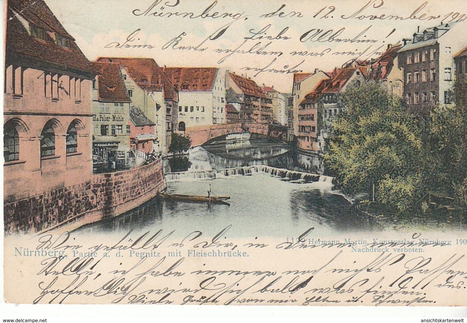 Nürnberg Partie An Der Pegnitz Mit Fleischbrücke Gl1911 #C8954 - Deutschland