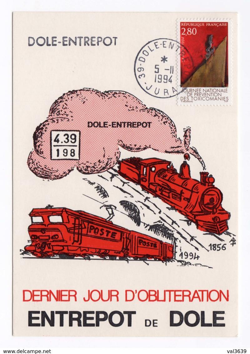 SNCF CP Dernier Jour D'oblitération Dôle Entrepôt (39) 1856-1994 Le 5 Novembre 1994 Avec Timbre YT 2908 - Trains