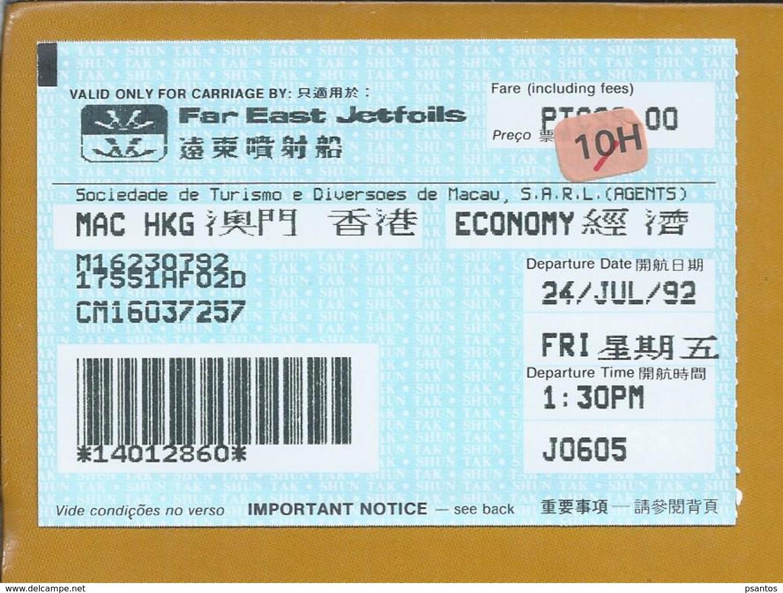 Far East Jetfoils Ticket From Macau 1992. Verre Oosten Jetfoils Ticket Uit Macau 1992. Sociedade De Turismo De Macau. - Wereld