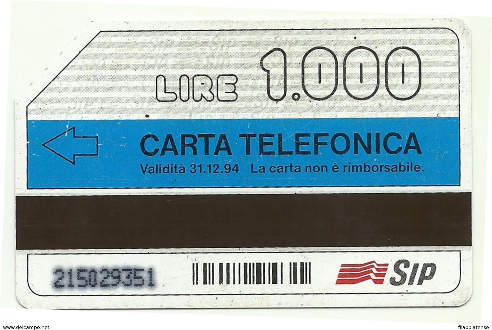 Italia - Tessera Telefonica Da 1.000 Lire N. 122 - 31/12/94 Omaggio - Perlage - Italië