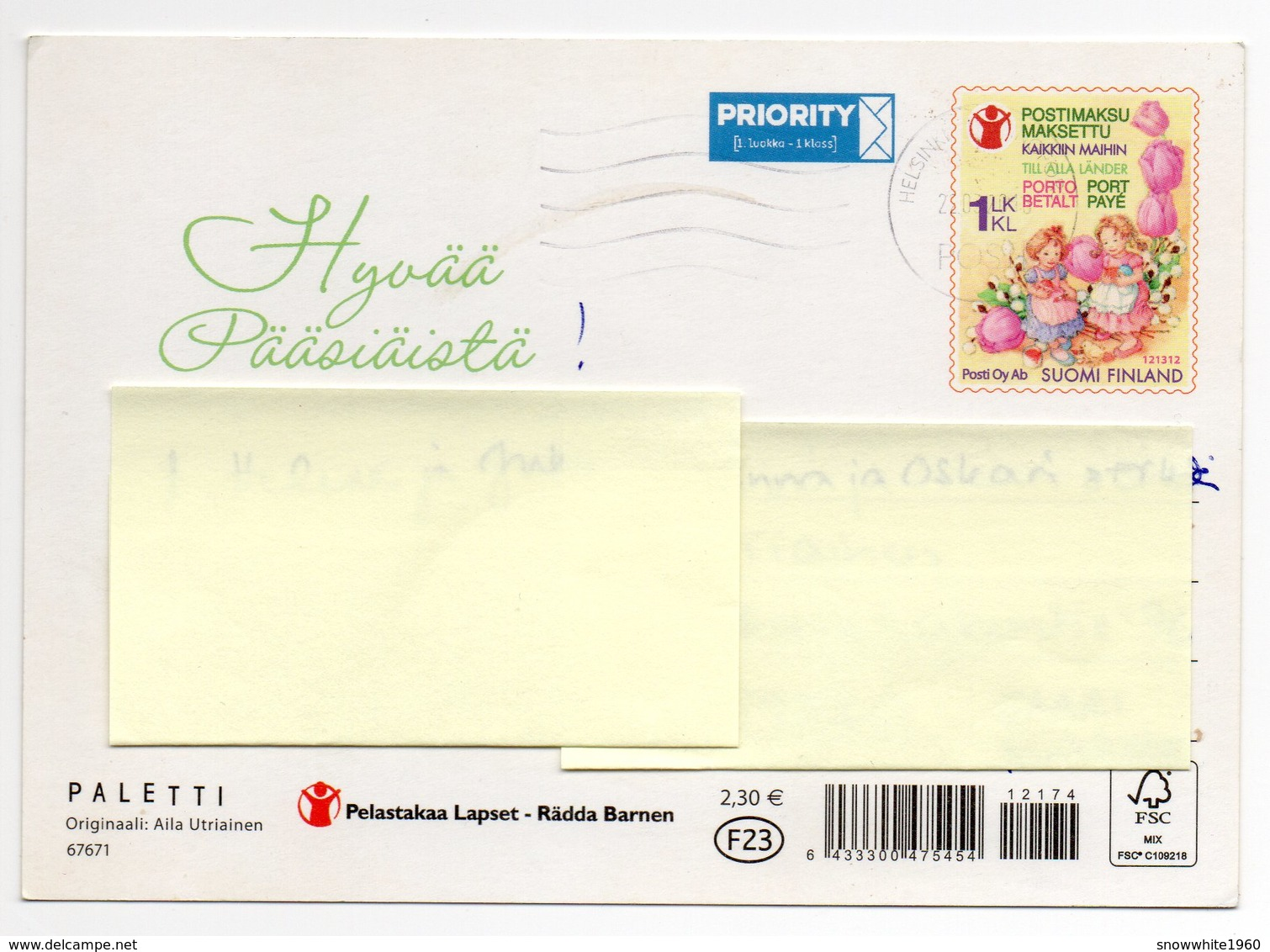 Postal Stationery FINLAND - CHARITY: SAVE THE CHILDREN - EASTER - ARTIST: AILA UTRIAINEN - GIRLS - EGGS - Postage Paid - Finlandia