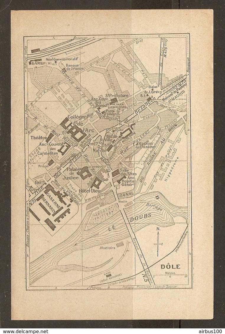 CARTE PLAN 1935 - DOLE CASERNE BERNARD BANQUE DE FRANCE COUVENT CARMELITES - Cartes Topographiques