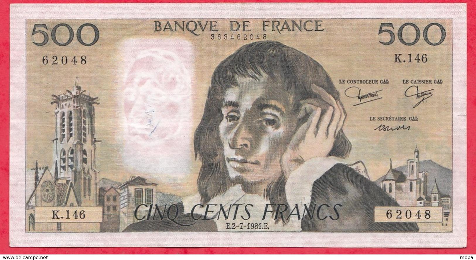 "500 Francs ""Pascal"" Du 02/07/1981.E ----F/TTB+-----ALPH .K.146 - 1962-1997 ''Francs''"