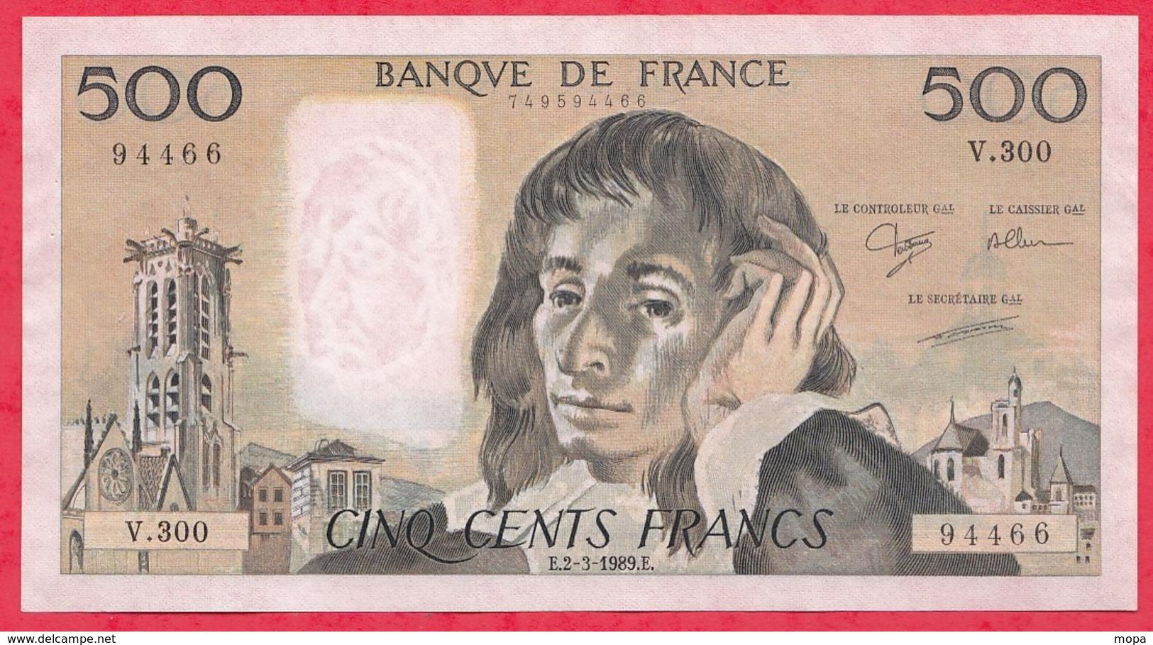 """500 Francs """"Pascal"""" Du 02/03/1989.E ----XF/SUP+-----ALPH .V.300 - 1962-1997 ''Francs''"""