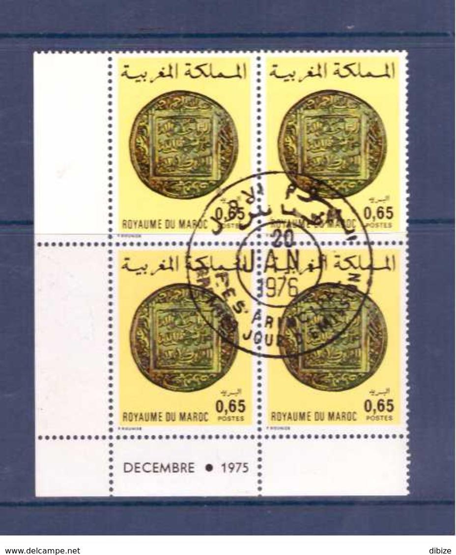 Maroc. Coin Daté De 4 Timbres. N° 748. 1976.  Ancienne Monnaie. Cachet 1er Jour. - Monedas
