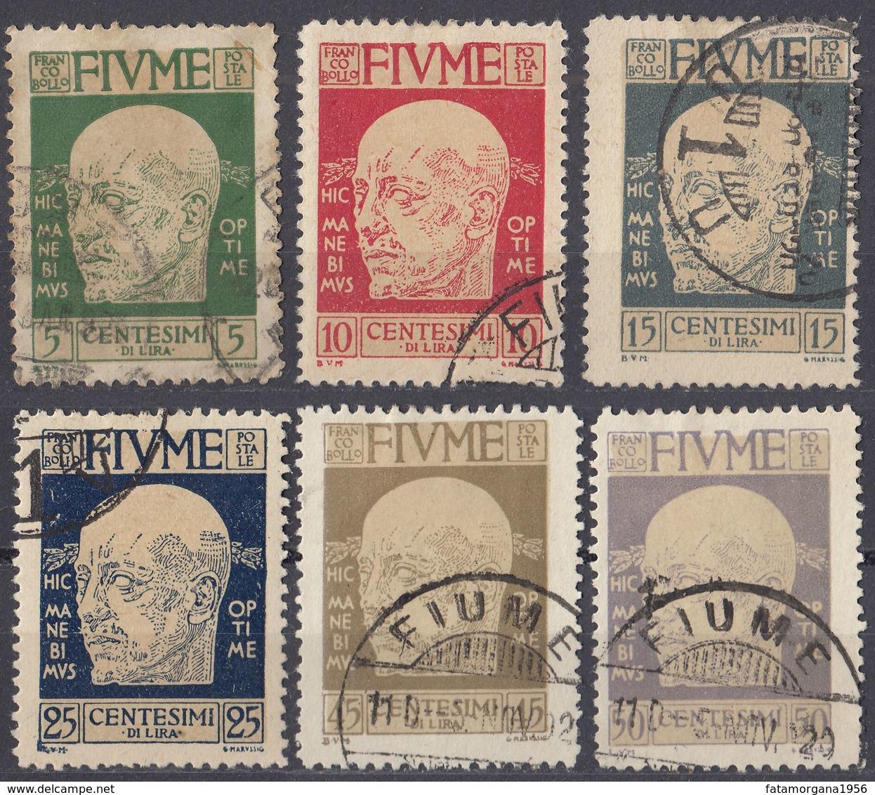 FIUME - 1920 - Lotto Di 6 Valori Usati: Yvert 96/98, 100, 102 E 103. - 8. WW I Occupation