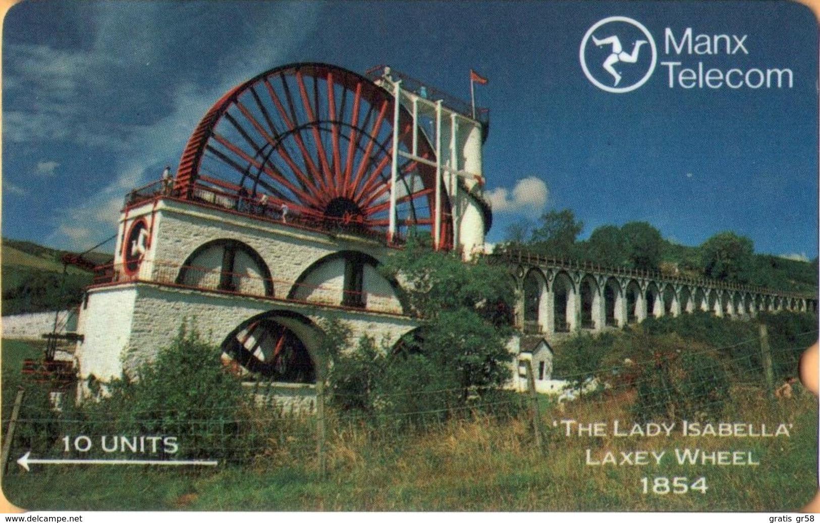 Isle Of Man - GPT, Laxey Wheel, 2IOMA, 10 U, 1989, Used - Isla De Man