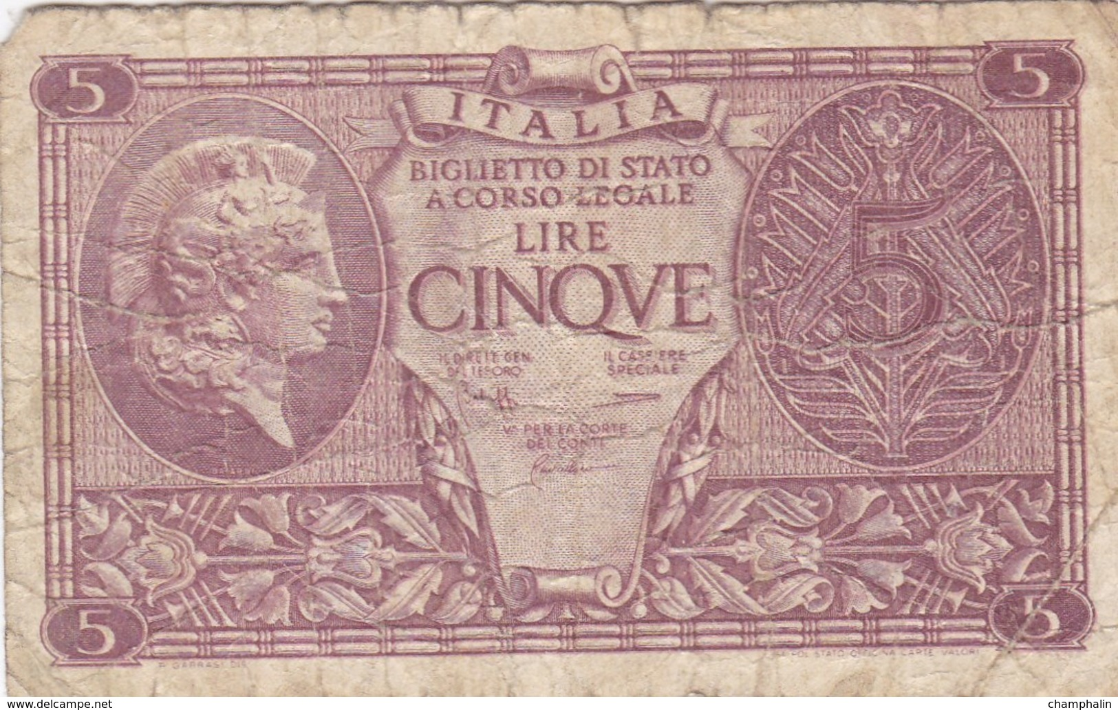 Italie - Billet De 5 Lire - 23 Novembre 1944 - [ 1] …-1946 : Kingdom