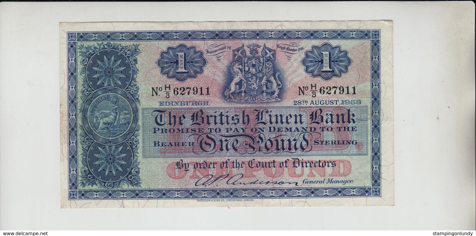 AB415. The British Linen Bank £1 Banknote 28th August 1958 #H/3 627911 FREE UK P+P - [ 3] Scotland