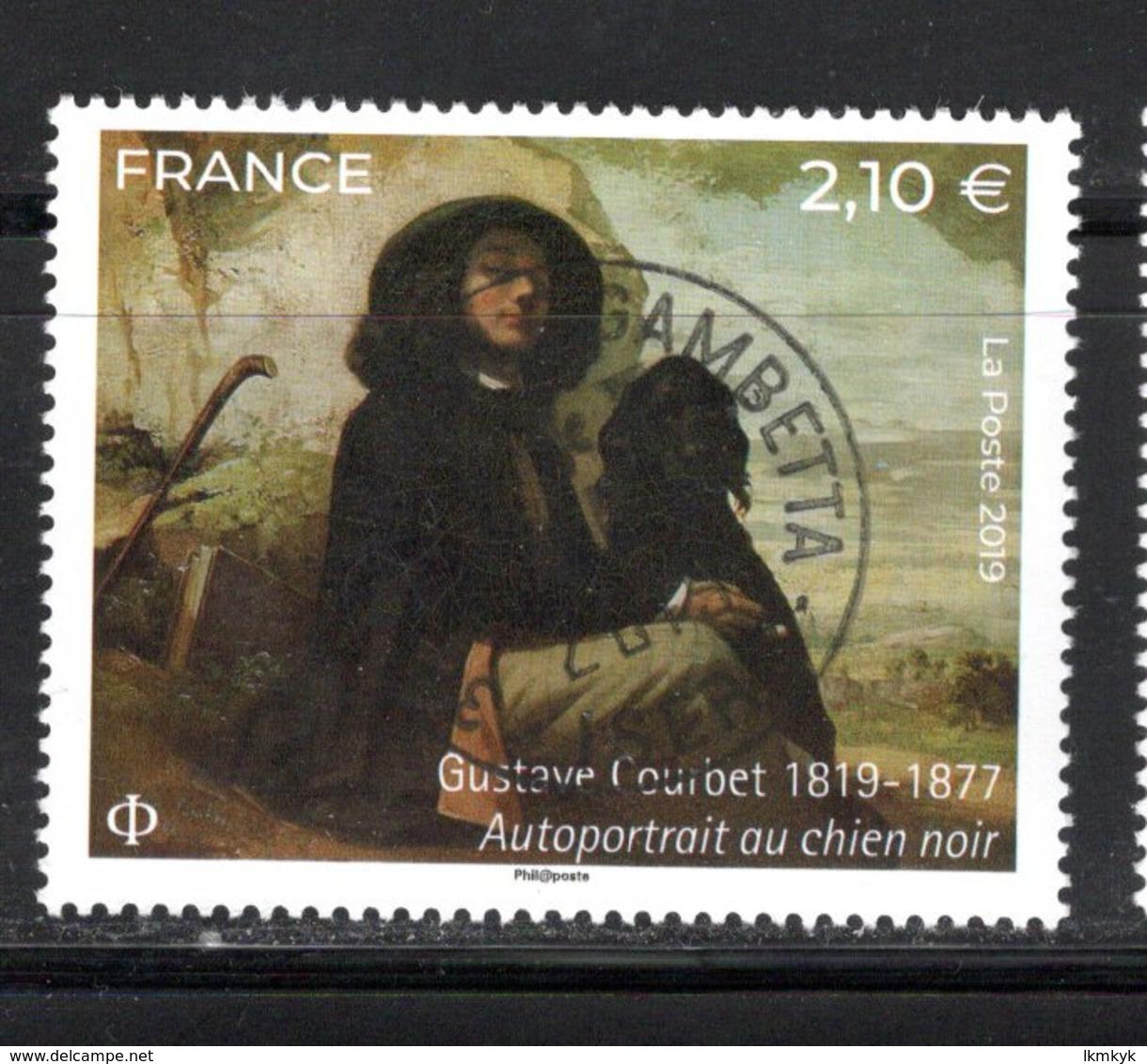 France 2019.Gustave Courbet Autoportrait Au Chien Noire.Cachet Rond Gomme D'origine. - Oblitérés