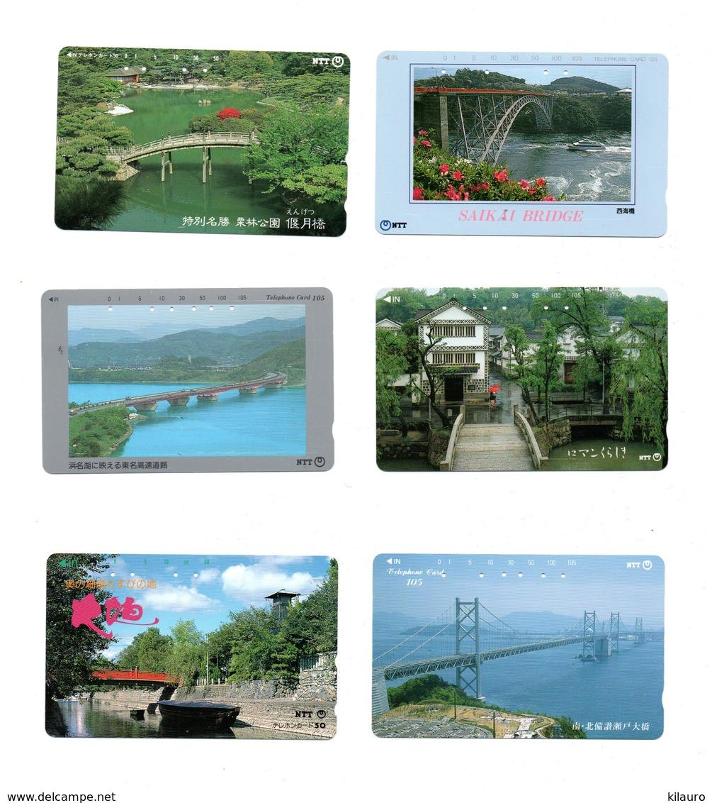 12 Télécartes Japon Japan Toutes Différentes Phonecard Paysage Pont Bridge Ponts (D 542 / 543) - Paysages