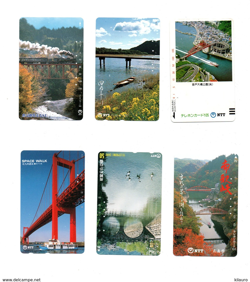 6 Télécartes Japon Japan Toutes Différentes Phonecard Paysage Pont Bridge Ponts (D 545) - Landschappen